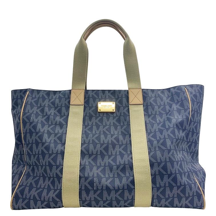 Michael Kors Tote Bag Logo Mk Thoth Laundry Blue Used Lady S Men Sports Gym Large Capacity Pvc Total