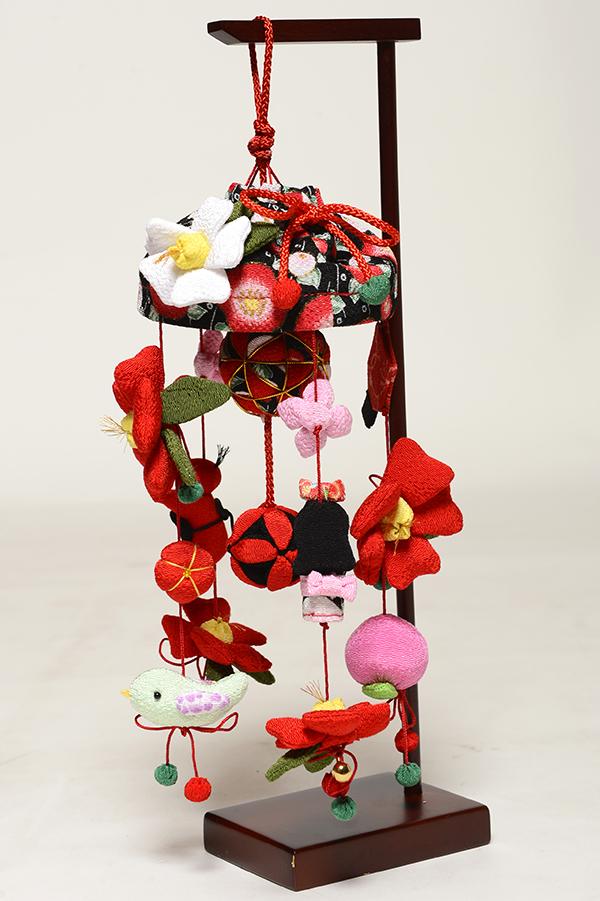 【ひな人形】【ひな人形】 チリメン傘付椿 スタンド付【吊るし雛】
