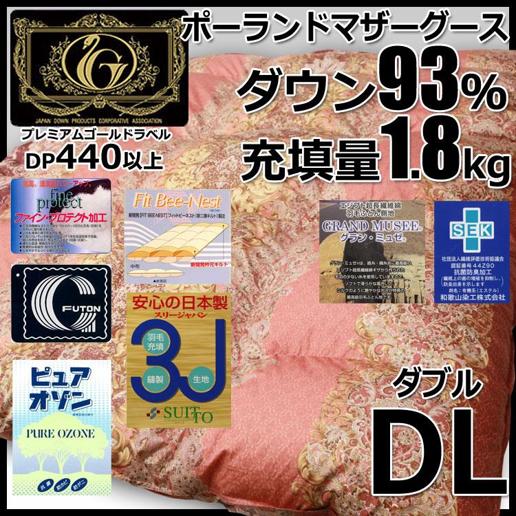 ポーランドホワイトマザーグースダウン93%羽毛布団 プレミアムミルヴァーナ2 増量タイプ(ダブルサイズ )プレミアムゴールドラベル