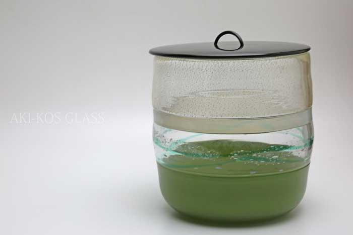 ガラスの水指「緑彩」水指・柄杓置き・蓋置・茶入れ・茶入・茶器・茶道具・お茶碗・抹茶茶碗・蓋置きの販売・通販