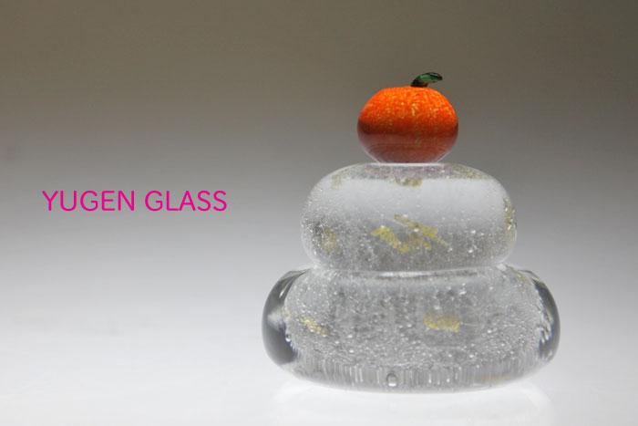 もっちり(大)金箔入りガラスの鏡餅・ガラスオブジェ・置物・鏡餅・仏壇・販売・通販