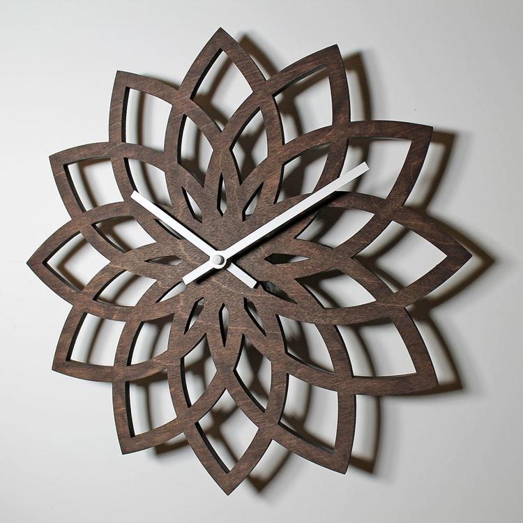 【対象商品ポイント15倍】【スーパーDEAL開催中】GMS01805 G-HOUSE(ジーハウス) 高級 モダン おしゃれ デザイン 壁掛け 掛け時計 木製 花 GMS01805