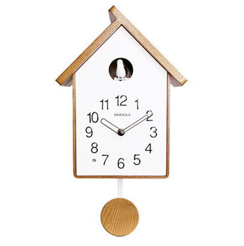 鳩時計 はと時計 大 掛け時計 ホワイト ナチュラル 木 シンプル
