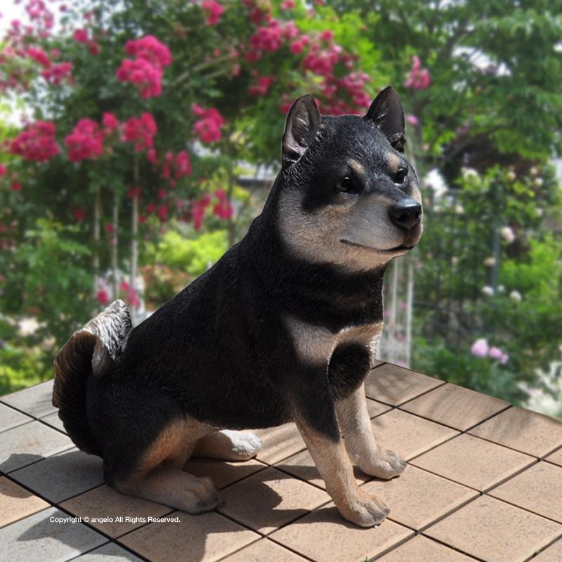 スーパーセールクロ柴犬お庭や玄関柴犬しばいぬくろしば送料無料 ガーデニング ガーデン 雑貨 オーナメント おしゃれ 置物 父の日