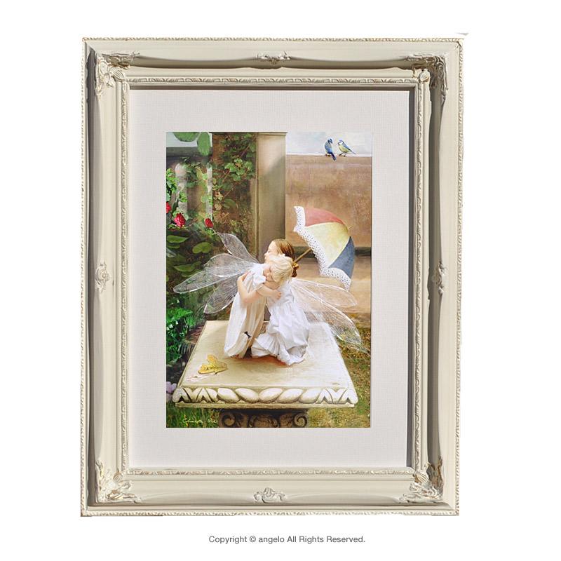 英国製 天使額絵「逢いたかった アイミュユー」妖精の森シャーロット バード天使 雑貨