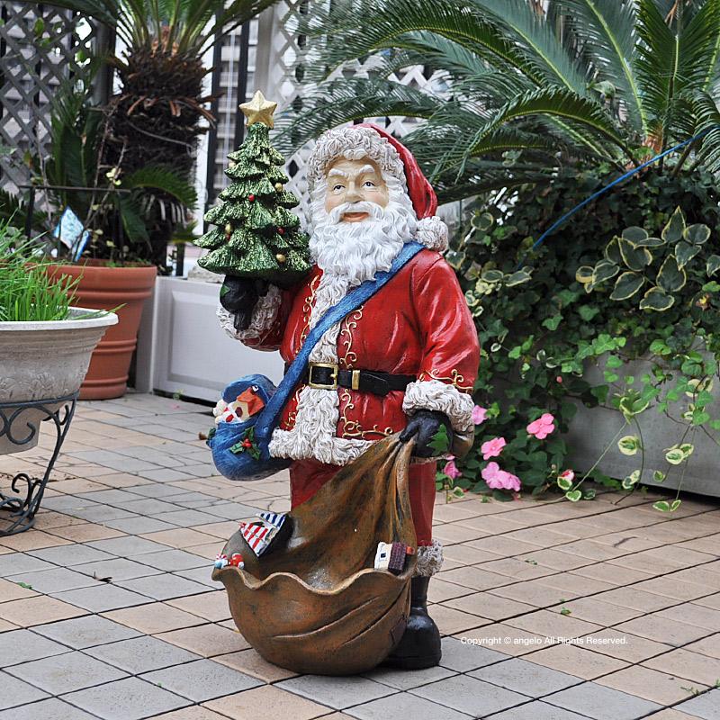 サンタクロースLLサイズ/クリスマス オーナメント・デコレーション ビック ディスプレイ高さ62cm サンタクロースきらきらラメのクリスマスツリー/あす楽ガーデニング オーナメント