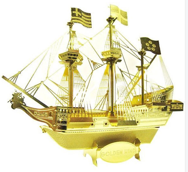 キャッシュレスポイント還元対象/【パズル】テンヨー メタリック ナノパズル ゴールドシリーズ<BR> ゴールデン・ハインド号 <BR>