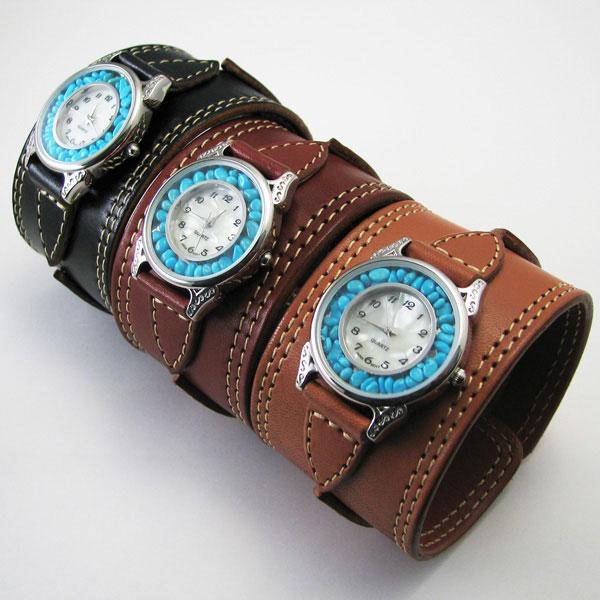 [クーポン発行中] 腕時計 革 レザーウォッチ クォーツ リアルストーン ブレスレット 日本製 新生活