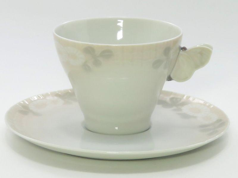 ロイヤルコペンハーゲン カップ&ソーサー■ミッドサマーナイトドリーム ピンク コーヒーC&S 蝶 昆虫 1客 1級品 7 美品