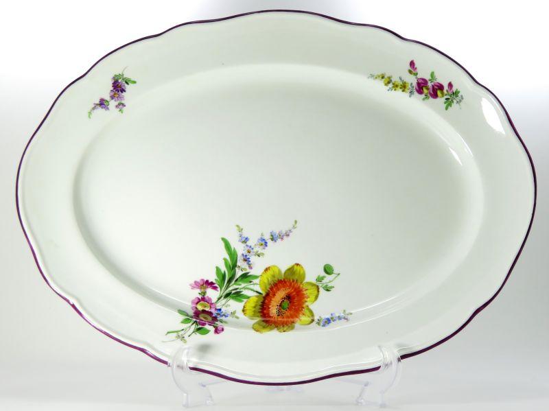 マイセン プレート■ベーシックフラワー ブーケ 三つ花 パープル オーバルプレート 41cm 1枚 大皿 楕円 Meissen 2
