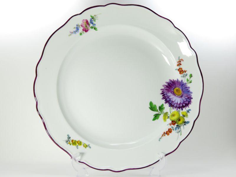 マイセン プレート■ベーシックフラワー ブーケ 三つ花 パープル サービングプレート 大 1枚 大皿 Meissen
