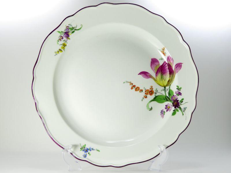 マイセン プレート■ベーシックフラワー ブーケ 三つ花 パープル サービングプレート 小 1枚 大皿 Meissen