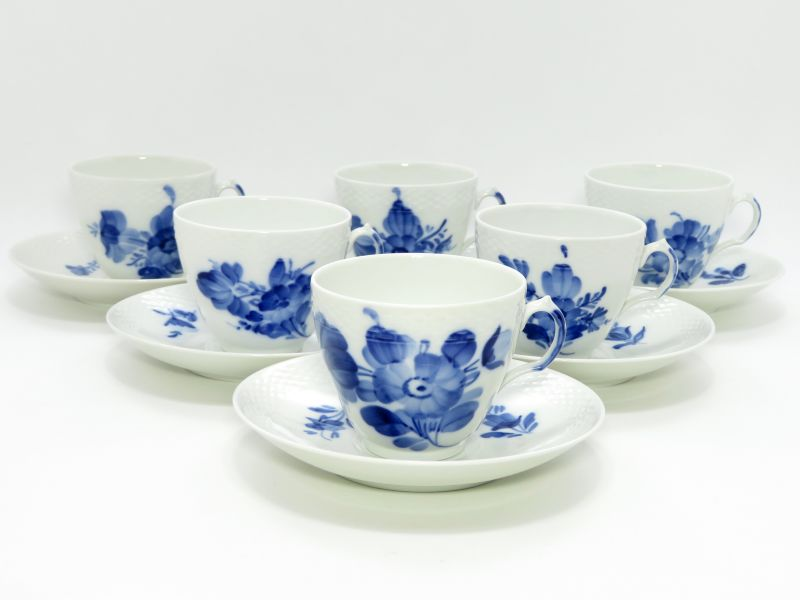 ロイヤルコペンハーゲン カップ&ソーサー■ブルーフラワー プレイン コーヒーC&S 6客セット1級品