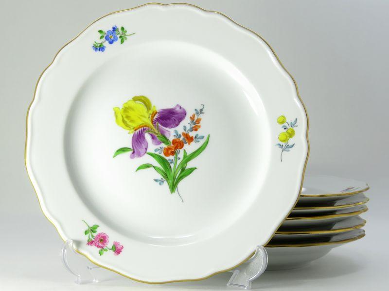 マイセン プレート■ベーシックフラワー ブーケ 二つ花 サラダプレート 6客セット 皿 Meissen