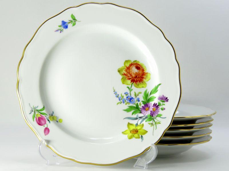 マイセン プレート■ベーシックフラワー ブーケ 四つ花 サラダプレート 6枚セット 皿 Meissen 1級