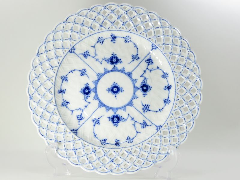 ロイヤルコペンハーゲン プレート■ブルーフルーテッド フルレース 透かし ディナープレート 大皿 1枚 1級 美品