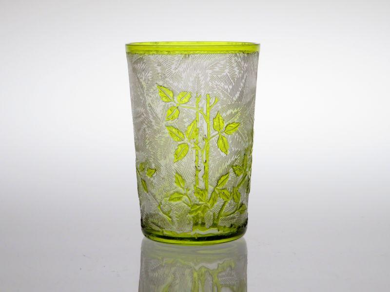 オールド バカラ グラス ● エグランチエ ミニタンブラー ショットグラス グリーン 緑 花 アンティーク