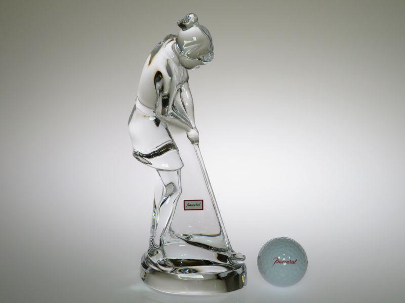 早い者勝ち バカラ フィギュリン ● オーガスタ ゴルファー 女性 ゴルフ ボール付き スイング ショット オブジェ Golf 箱付き, エコガーデン 5dcb0f79
