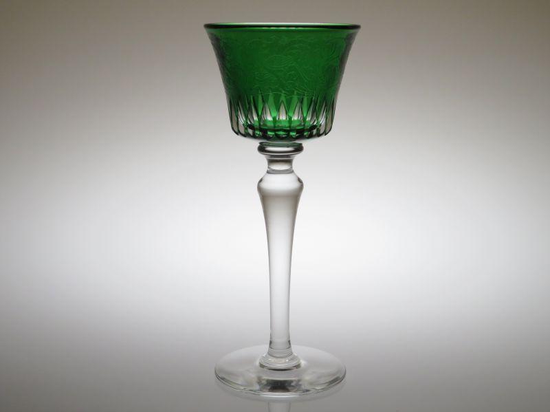 バカラ グラス ● パルメ ホックワイン ラインワイン 緑 グリーン レーマー 被せガラス エッチング 不死鳥 希少品 Parme
