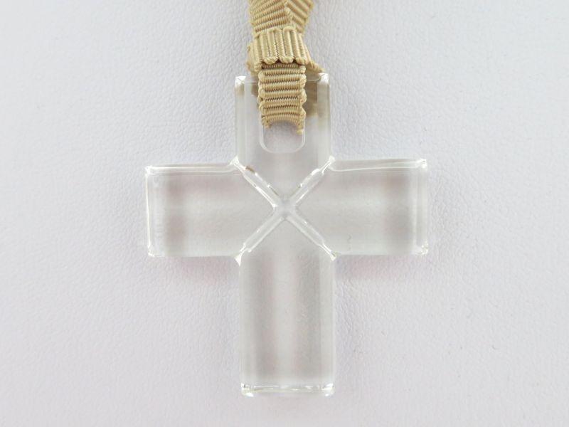バカラ ネックレス ● クロス 十字架 クリア 透明 ペンダント ローマンクロス チョーカー 袋付き