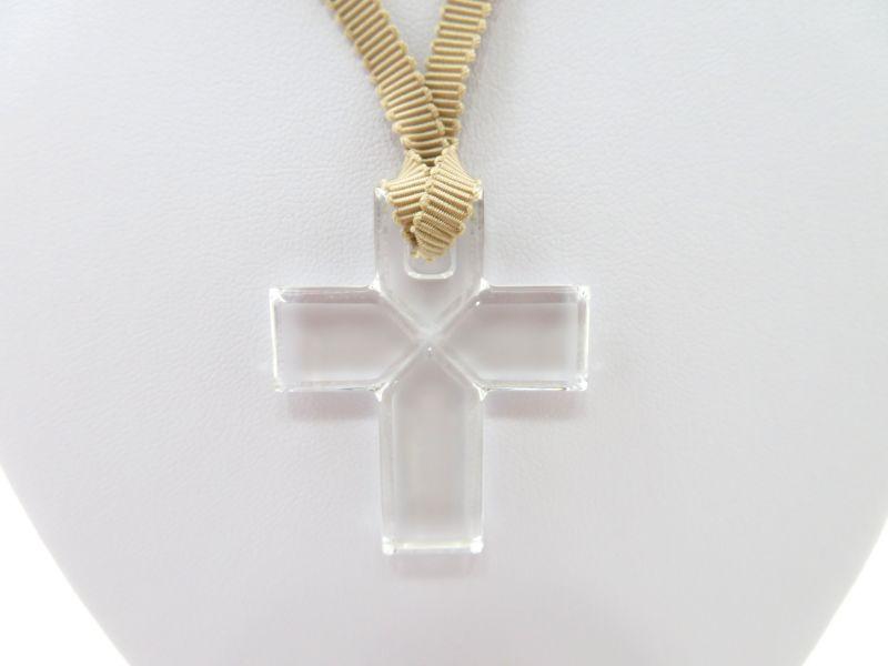 バカラ ネックレス ● クロス 十字架 クリア 透明 ペンダント ローマンクロス チョーカー