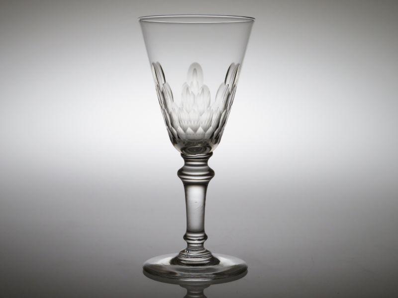 オールドバカラ グラス ● ワイン グラス 12cm ウロコ エカイユ 円錐型 リシュリュー アンティーク クリスタル