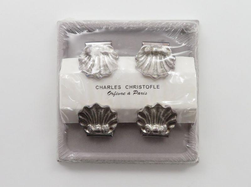 クリストフル メニュー ホルダー ● シェル 貝殻 メモ カード 4個セット クリップ シルバー 銀 未使用 未開封 箱付き Shell