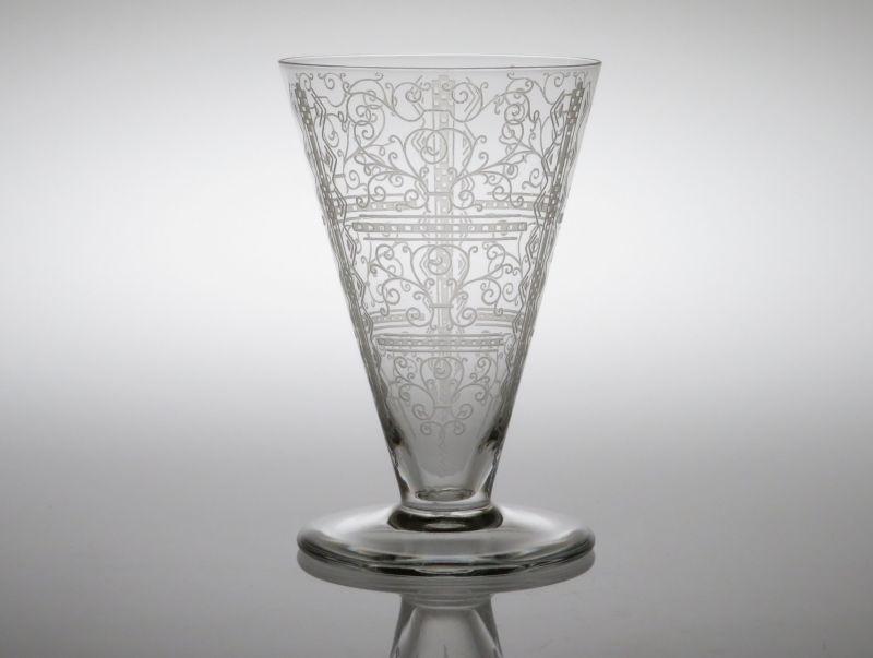 オールドバカラ グラス ● リド ワイン グラス エッチング ヴィンテージ 10cm Lido