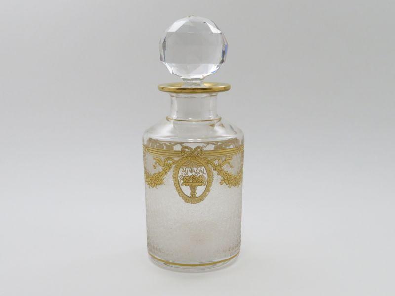 オールド サンルイ 香水瓶 ● リボン リース 金彩 パフュームボトル 14cm 希少シール付 ゴールド バラ フラワー アンティーク
