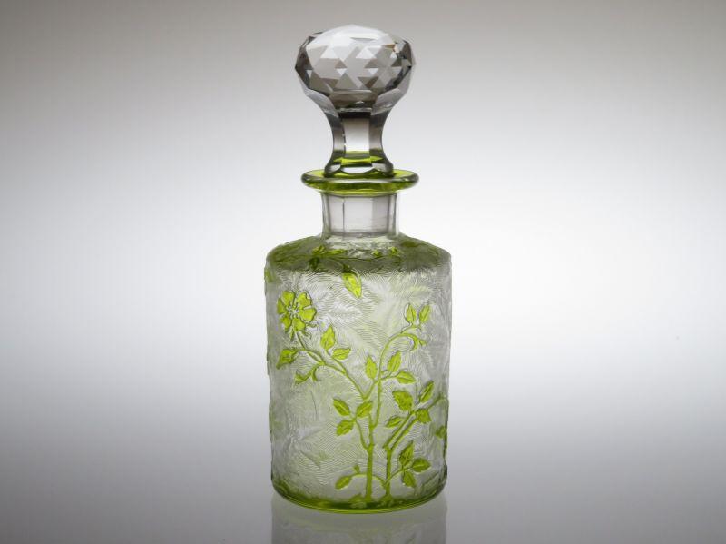 オールド バカラ 香水瓶 ● エグランチエ パフュームボトル 黄緑 14cm 希少 少訳あり ライトグリーン アンティーク Eglantier