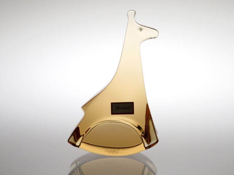 バカラ フィギュリン ● 動物 置物 キリン オレンジ オーナメント クリスタル オブジェ 麒麟 Giraffe