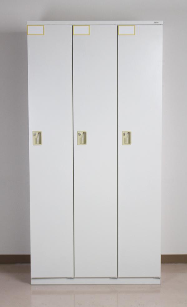 送料無料 中古品 PLUS製 スチールロッカー シューズラック スチールキャビネット スチール製 鏡付き 棚付 ハンガーフック 鍵付き シューズボックス 3人用