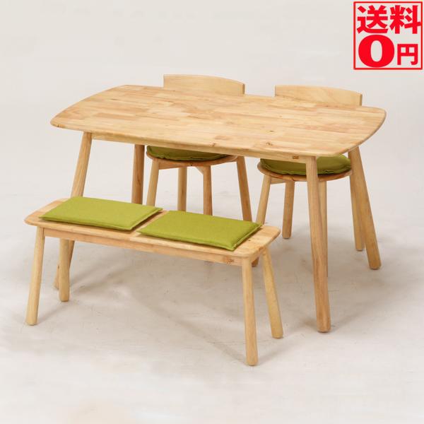 【送料無料】 Natural Signature ダイニング4点セット テーブル・ベンチ・チェア ティムバ 37011・37012・37013