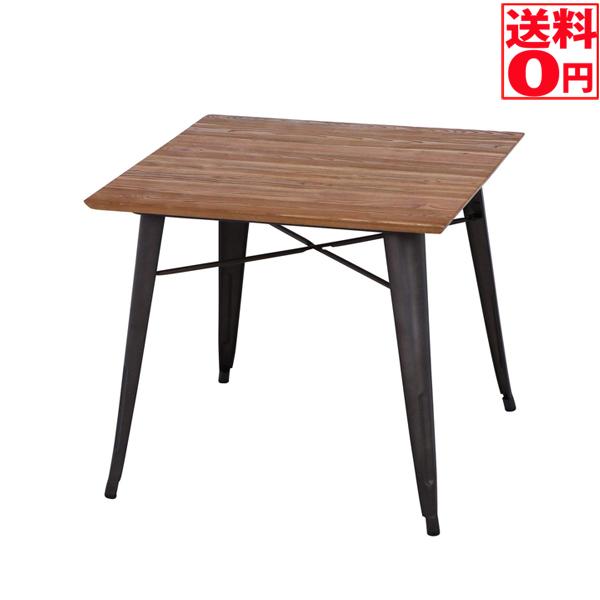 【送料無料】スチールテーブル ニレ材天板800*800*700 50597