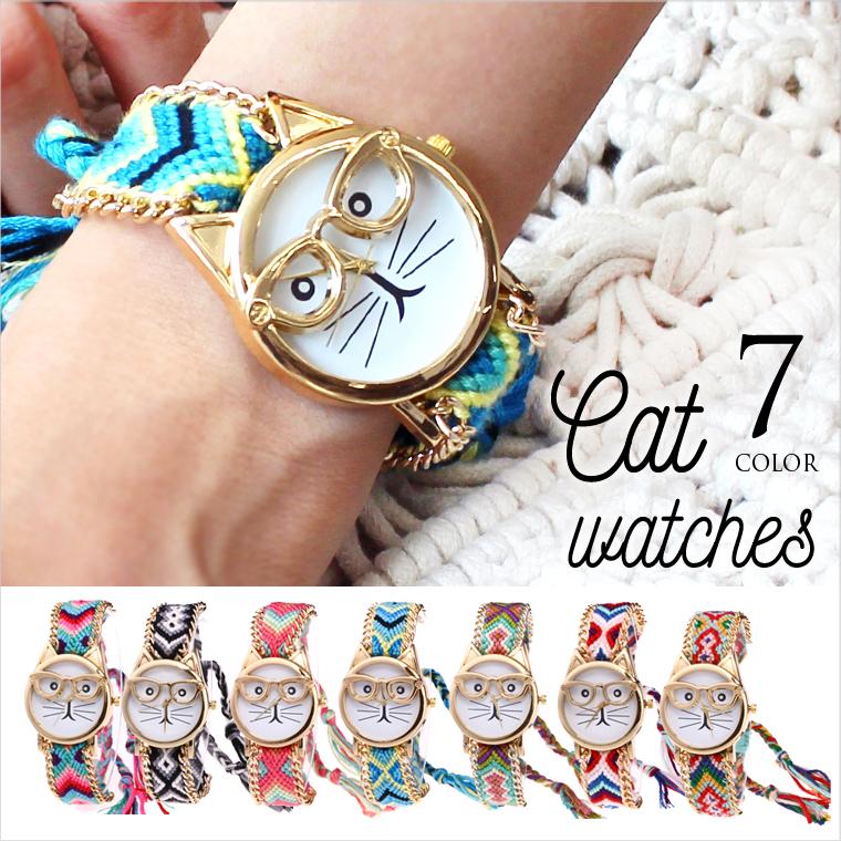 【】 猫時計 ねこ 猫腕時計 めがね ミサンガ 腕時計 猫 可愛い 時計 プレゼント レディース 防水 おしゃれ 安い 雑貨 1000円ポッキリ 1000円  8J67