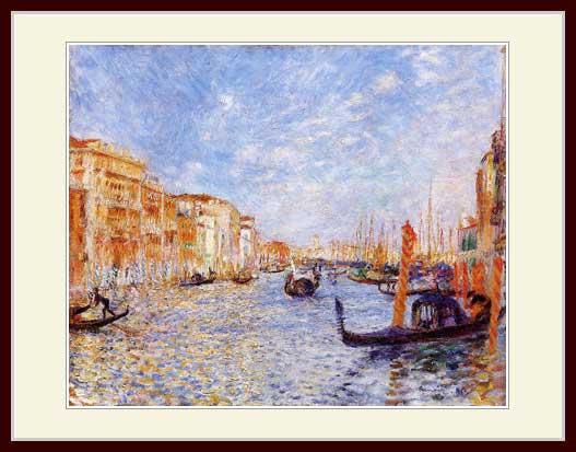 プリキャンバス複製画 デッサン額仕上げ 6号相当サイズ お買い得 ヴェネツィアの大運河 有名な ルノワール