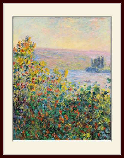 小さいサイズ プリキャンバス複製画 デッサン額仕上げ モネ 八ツ切サイズ 格安 ヴェトゥイユの花の群生 格安激安