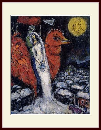 シャガール・「赤い雄鳥と恋人たち」
