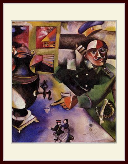 シャガール・「酒を飲む兵士」
