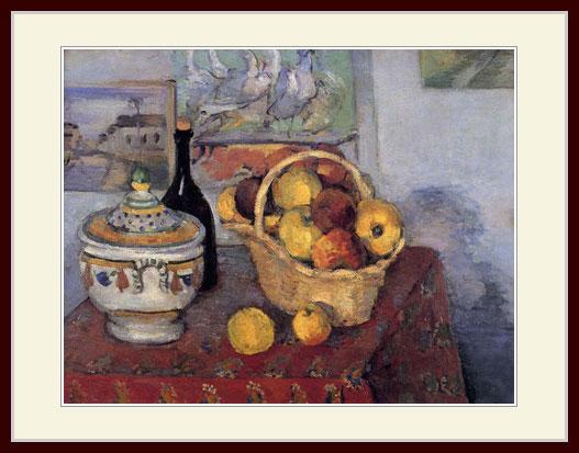 セザンヌ・「りんごと瓶とスープ容れ」