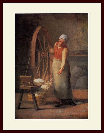 ミレー・「糸を紡ぐ女」