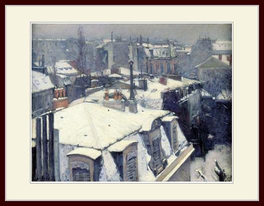 カイユボット・「屋根の上の雪、パリ」