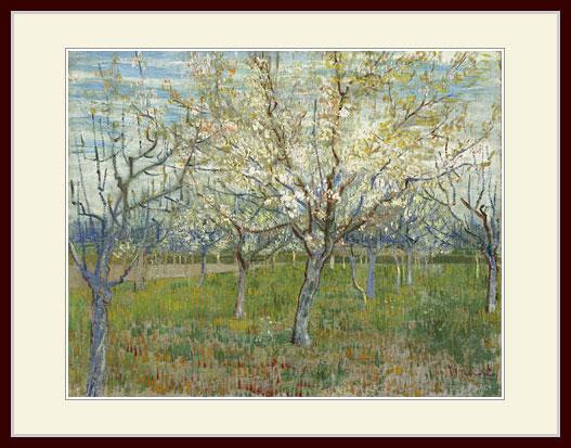 プリキャンバス複製画 デッサン額仕上げ 6号相当サイズ 国内即発送 ゴッホ マート 花咲くアンズの木々のある果樹園