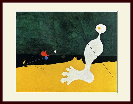 ストア プリキャンバス複製画 デッサン額仕上げ 6号相当サイズ 鳥に石を投げる人 タイムセール ミロ