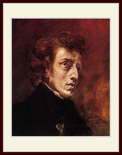 プリキャンバス複製画 デッサン額仕上げ 6号相当サイズ 安値 フレデリック ドラクロワ 購入 ショパンの肖像
