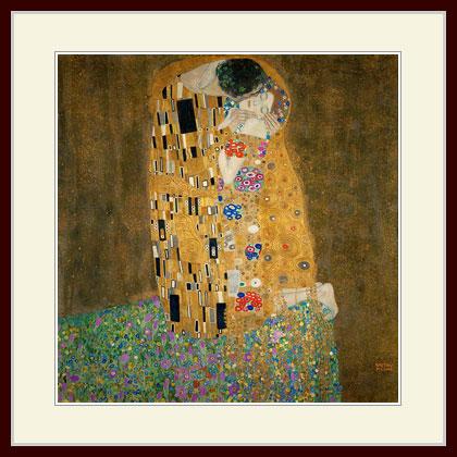 クリムト 接吻 プリキャンバス複製画 高価値 デッサン額仕上げ 授与 6号相当サイズ