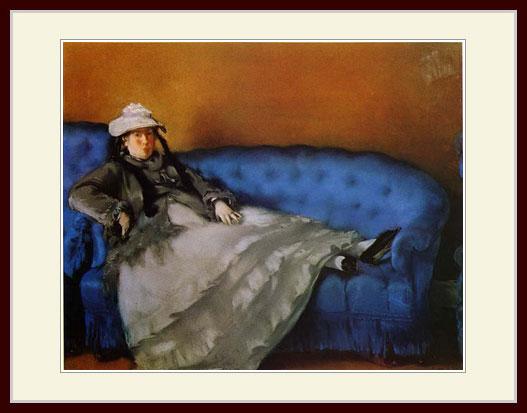 プリキャンバス複製画 デッサン額仕上げ 6号相当サイズ 青い長椅子にすわるマネ夫人 オリジナル マネ 現金特価