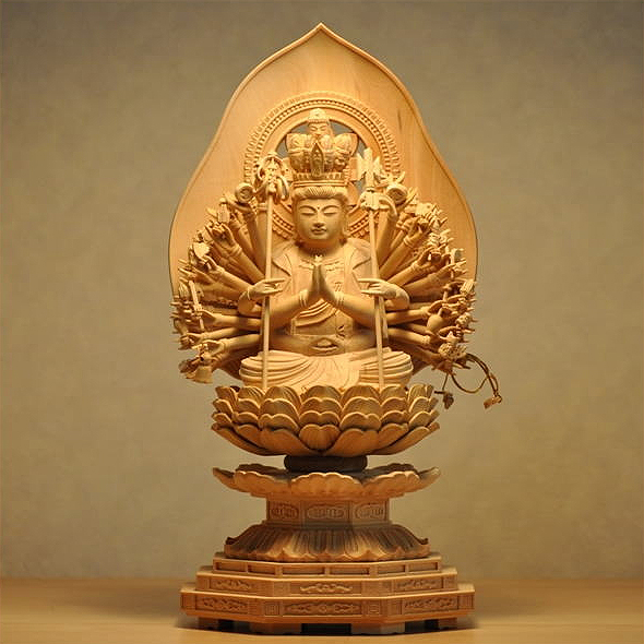 Buddha statue wood carving Buddha statue Kannon-with-One-Thousand-Arms  Bodhisattva gift present