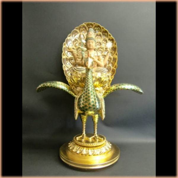 Wood carving Buddha Peacock Ming senior citizen's day gifts, gifts, gifts