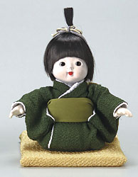 日本人形 京おさな・男の子SS(グリーン)